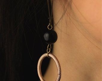 Wedding jewelry - bronze hoops and black pearls