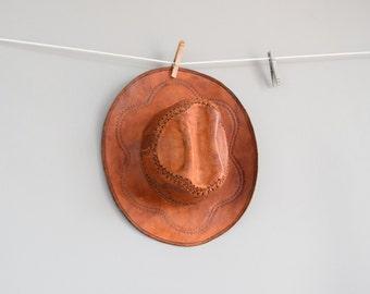 Vintage Tooled Leather Hat