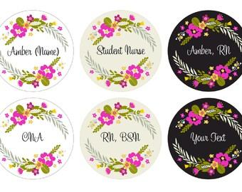 Floral Wreath Custom - Stethoscope ID Tag - Badge Reel - Lanyard