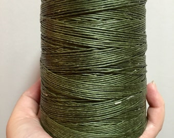 10 meters ≈ 11 yards - 1mm Mud Green Waxed Cord - Cotton Waxed Cord