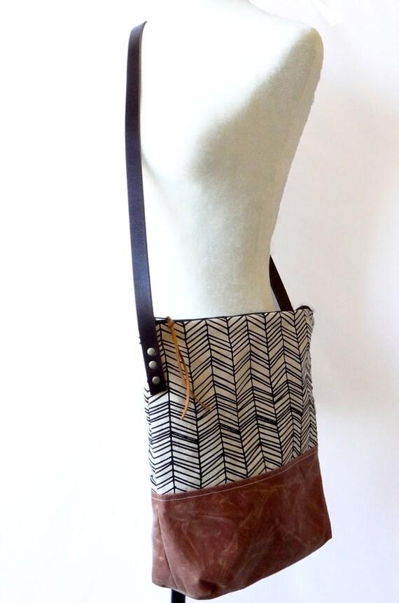 Skinny Herringbone Crossbody With Tan Waxed Leather