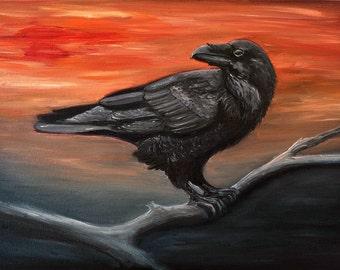 Raven Painting original Oil painting sunset Painting Crow original oil wildlife nature Black-Portrait Gothic Art Bird painting crow fine art