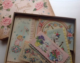 Vintage Boxed Greeting Cards, Pink, Favorite Trio, Midcentury Pink Roses, 5 Cards with Envelopes