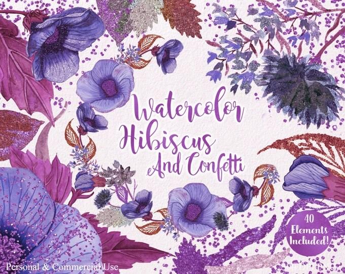 WATERCOLOR HIBISCUS ClipArt Summer Tropical Flower Clipart Commercial Use Watercolor Floral Wreaths Purple Confetti Invitation Clip Art