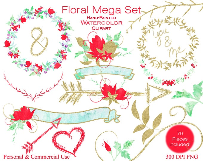 WATERCOLOR FLORAL Clipart Commercial Use Clipart Wedding Clipart Gold Mint & Coral Flower Bouquets Watercolor Floral Wreaths Banners Arrows