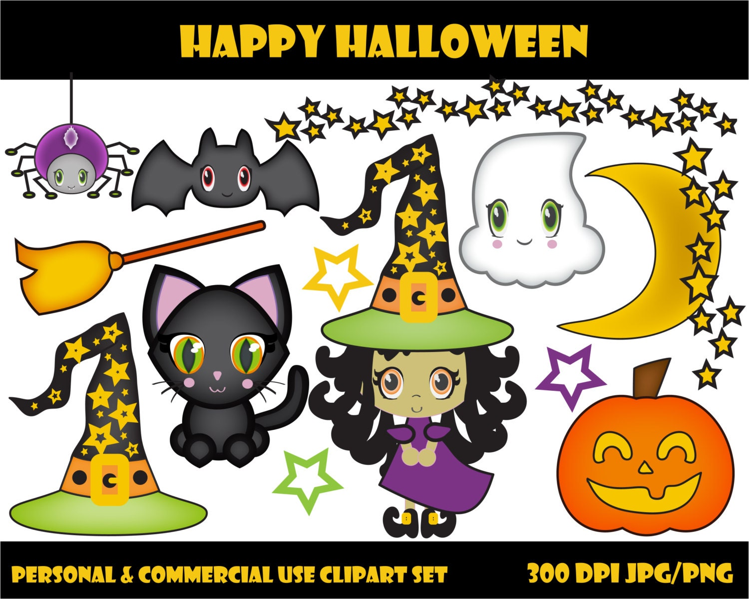 CUTE HALLOWEEN CLIPART Commercial Use Clip Art Bat Witch ...