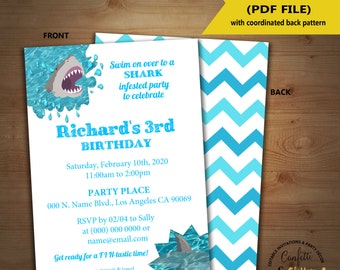 Shark party birthday invitation sharks infested partysummer pool party invite Instant Download editable text printable invite 5247