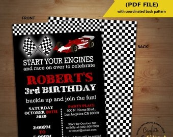 Race car birthday invitation racing cars auto racing party chalkboard invite Instant Download YOU EDIT TEXT and print yourself invite 5393