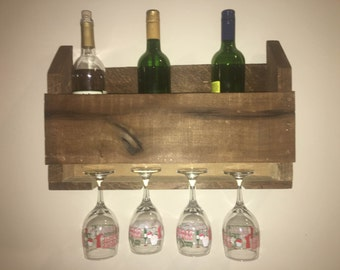 Stained Pallet Wine Rack with Wine Glass Holder