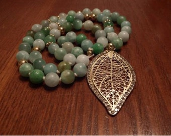 """Homemade Blueish-Green 24"""" Bead Necklace"""