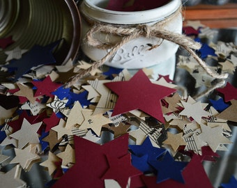 500 Red White Blue Star Paper Confetti 4th of July Independence Day