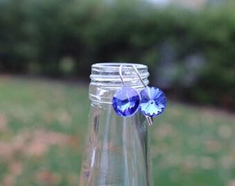 Swarovski Crystal Drop Earrings - Sapphire