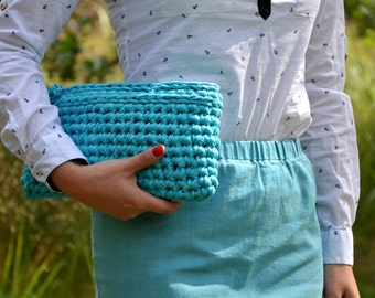 Crochet Clutch/Elegant Handbag/Crochet handbag/ Blue crochet bag/Summer handbag