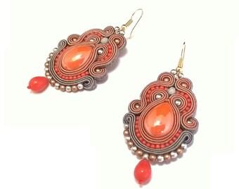 """Soutache Earrings """"Autumn Fog"""", Orange-gray Earrings, Multicolor Statement Earrings, Fashionable Dangle Earrings, Autumn Jewelry, Handmade"""