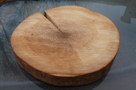 Wood cake stand slice centerpiece wooden round