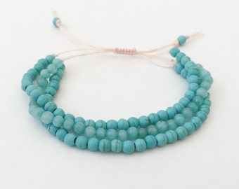 Turquoise Beaded Bracelet | Teal bracelet | Summer Jewelry, 37TTS
