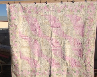 Pink and Cream Log Cabin Quilt