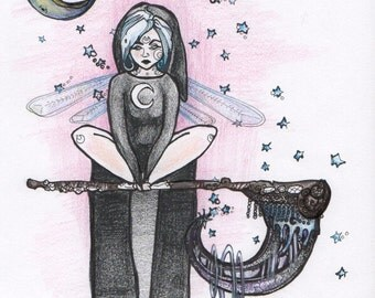 "Fantasy Art Print,  ""Sythe Rester,"" Home Decor, Gift, fairy, lunar, dreamy, pink, blue, black"
