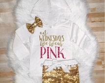 On Wednesdays We Wear Pink Hoodie Gold Sparkle Tee