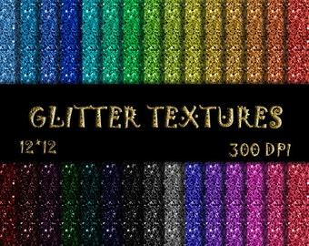 30 Glitter Scrapbook Paper Rainbow Glitter Digital Paper Glitter Textures Colorful Glitter Scrapbook Paper Glitter background Commercial Use