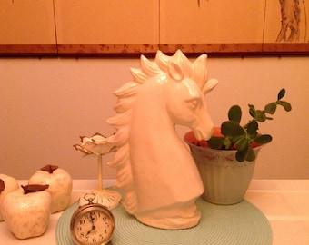 WHITE Ceramic Horse Head Statue Decorative Accent Shabby Horse Lover Vignette