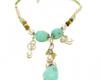 Allnonly Y Shape Semi Precious Gemstones Necklace