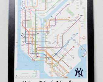New York Yankees Subway Metro system Poster - NYC - NYY - Yankee - Baseball - MLB