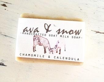Chamomile & Calendula Goat's Milk Soap, All Natural Soap, Handcrafted Goat's Milk Soap with Chamomile and Calendula Tea, Calendula Oil