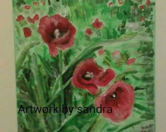 Poppy canvas painting