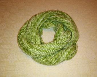 Very long green scarf, infinity scarf, loop