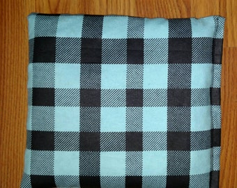 Corn Bag, Removable Washable Cover, Heating Pad, Ice Pack, Microwavable, Freezable, Approx 8x10, Teal and Black Plaid,