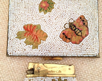 1960's Butterfly Cigarette Case and Lighter, Beaded Cigarette Box Floral Embroidered Gold Tone Cigarette Set-Stunning!