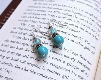 Silver Dangle Hook Earrings / Blue Beads / Handmade / Birthday Gift / Mother's Day Gift