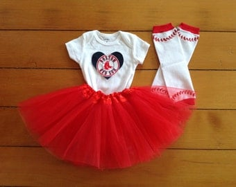 Go Red Sox! Baby girl baseball fan tutu set. A baby shower gift idea.