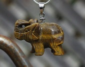 Tiger Eye Elephant Pendant on a Sterling Silver Chain ~ Carved Elephant Necklace ~ Semi Precious Stone Jewellery ~ Carved Brown Stone
