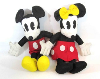 "Vintage 20"" Mickey and Minnie Mouse Plush Dolls. 1930's Style."
