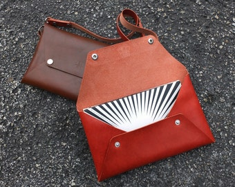 Horween Leather Envelope Clutch Purse with Shoulder or Wrist Strap in Black, Brown, Red, or Tan Leather