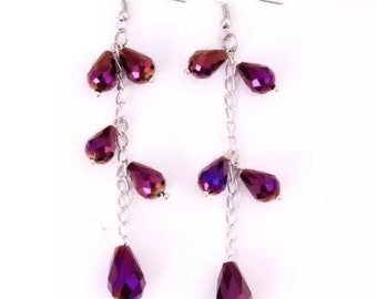 Handmade tanzanite crystal earrings
