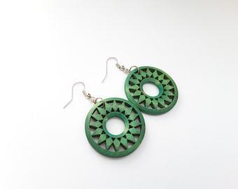 Wooden Teal Circles . Earrings.
