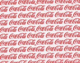 Coca Cola Writing White 100% Cotton Fabric  # 3C