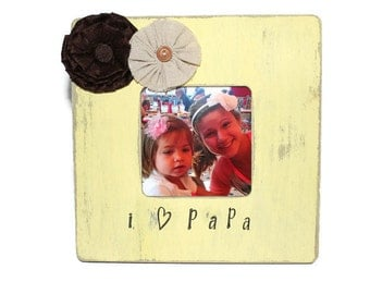 Papa Picture Frame Grandpa Photo Frame Yellow Frame Rustic Picture Frame