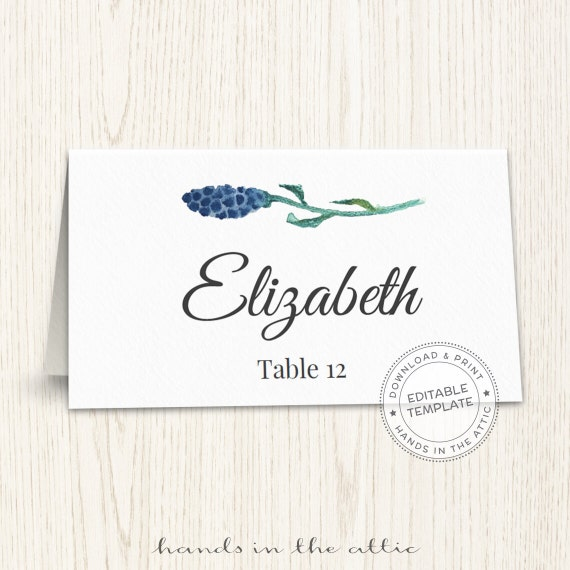 floral wedding placecard template printable escort cards wedding printable name card template. Black Bedroom Furniture Sets. Home Design Ideas