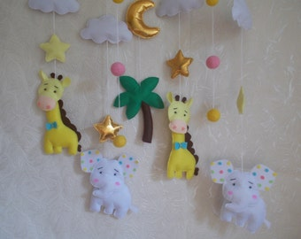 Baby crib mobile Jungle animals-Safari Animals mobile,elephant mobile,baby kit mobile,giraffes mobile,baby bedding,baby cot mobile
