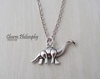Brachiosaurus Necklace - Apatosaurus Charm - Long Neck Dinosaur Pendant - Antique Silver Jewelry