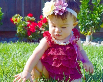 Burgundy Red Petti Lace Baby Romper - Baby Romper - Baby Girl -  Lace Romper - Petti Romper - Girls Romper - Birthday - Ruffles - Pictures
