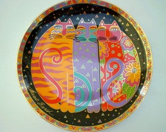 Royal Doulton (Franklin Mint) - China Collector's Plate - 'Fanciful Felines' by Laurel Burch - Limited Edition - 1995 - England