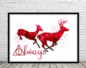 Harry Potter inspired, Stag Patronus, watercolor print, always together (1191b)