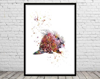 Porcupine, Porcupine print, watercolor Porcupine, Porcupine print, watercolor art print, animal print, home decor, animal art (1543b)