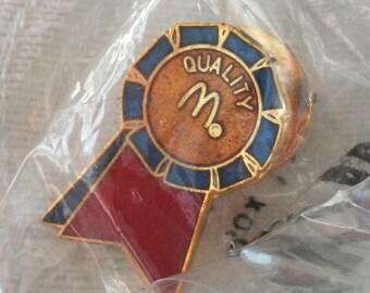 McDonalds Tie Tac Pin, Blue Ribbon Tie Tack, Collectible McDonalds Pin, vintage McDonalds Pin, Mens Tie Tack, Mens Suit, Gold Tone tie tac