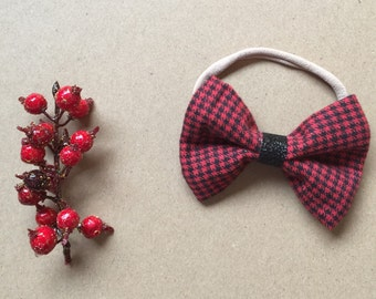 Red and Black Flannel Bow